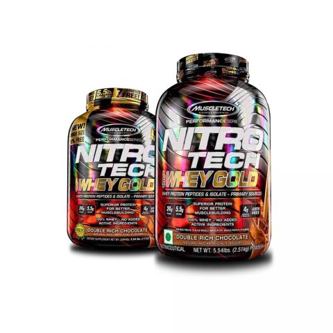 MUSCLETECH, PS NITROTECH, WHEY GOLD, DOUBLE RICH CHOCOLATE, 5.5 LBS (COMBO)